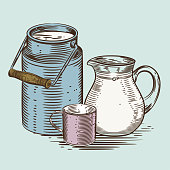 Vector image of a milk canister, a jug for milk and a cup. Depiction in the style of engraving