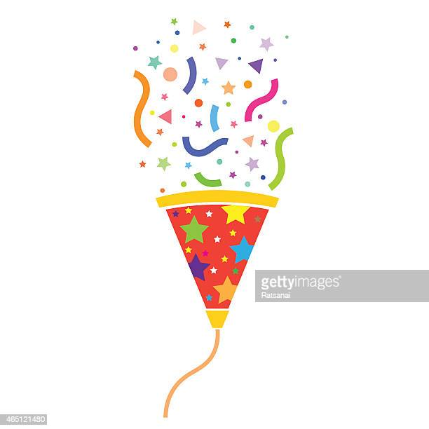 vector image of a party popper shooting it's streamers - cracker snack stock illustrations, clip art, cartoons, & icons