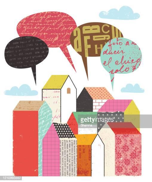 vektorbild einer stadt mit sprechenden blasen - clipart stock-grafiken, -clipart, -cartoons und -symbole
