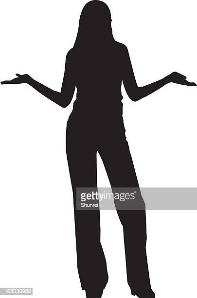 a vector image of a woman on a white background - shrugging stock illustrations, clip art, cartoons, & icons