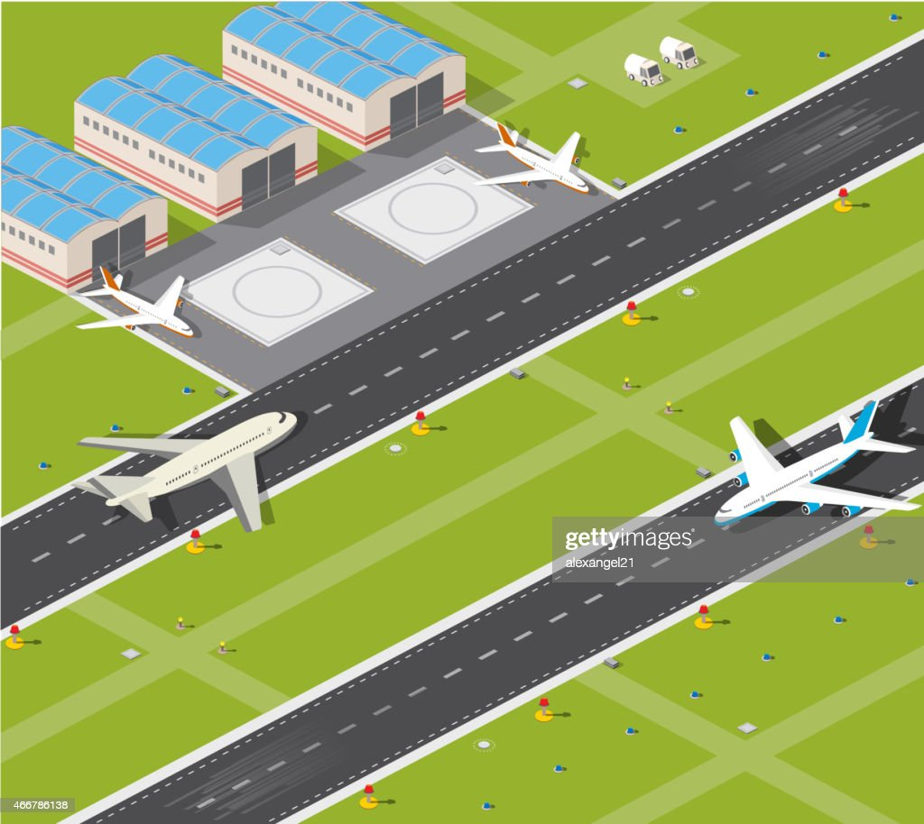 Vector image of a working airport and hangers