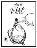 Vector image of alcoholic drink.Wine glass and Wine bottle.Red or white wine. Hand drawing picture.