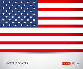 vector image of american flag, USA United States symbol, Independence day background