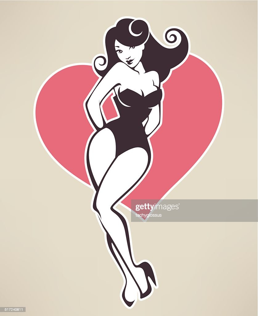 vector image of attractive pinup girl