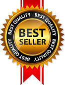 Vector image of best seller seal with red ribbon