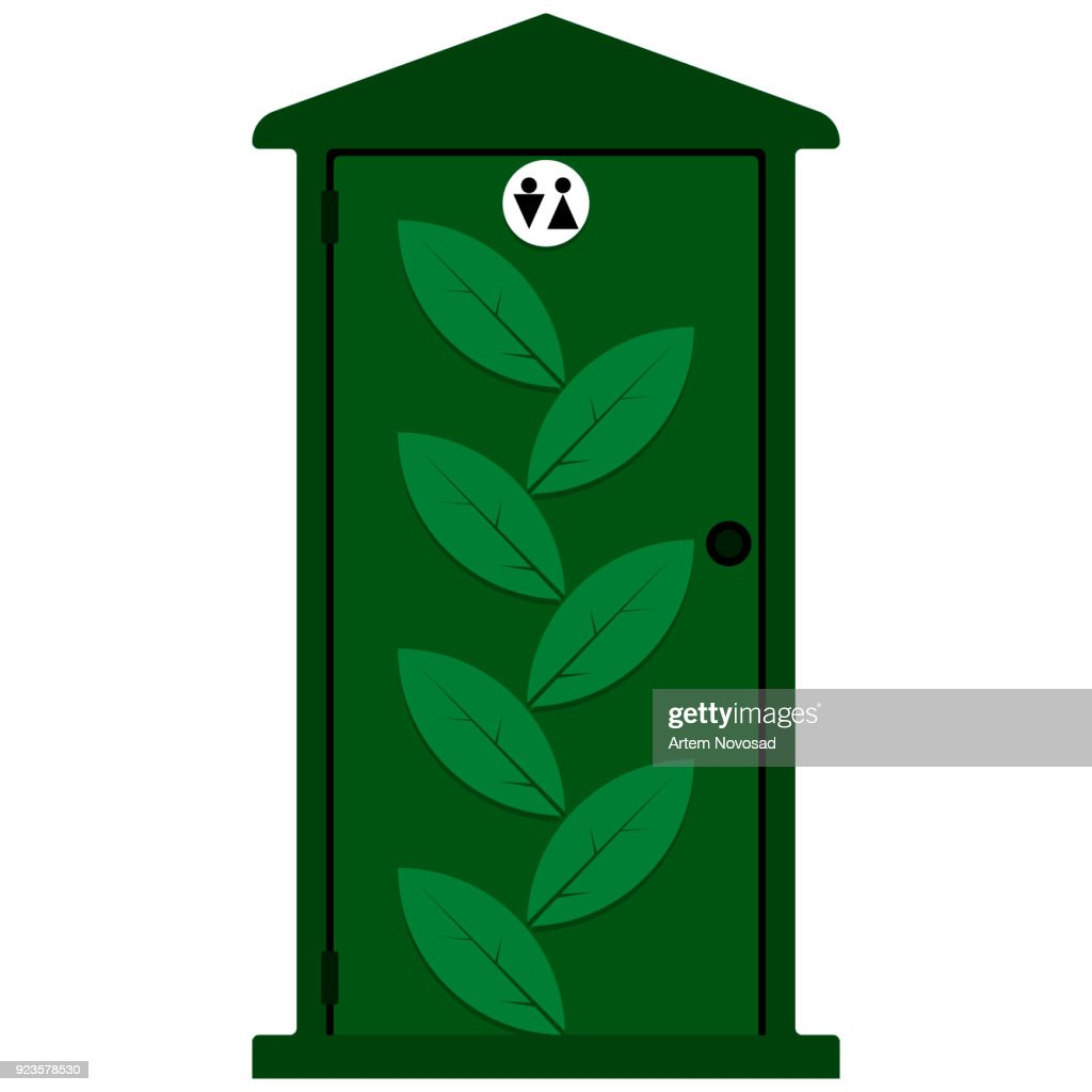 Vector image of bio toilet green on white background for men and women