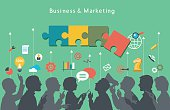 Vector image of business team organizing ideas