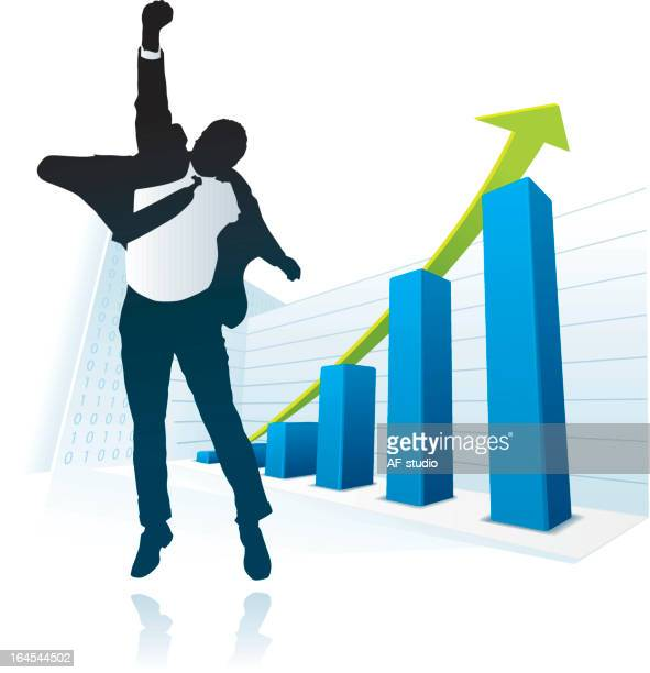 Vector image of businessman happy about ascending bar graph