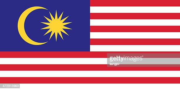 Vector image of colorful Malaysian flag with yellow moon