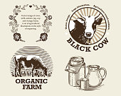 Vector image of cows, milk canister, jug, cup and vintage frame. A set of agricultural illustrations in the style of engraving