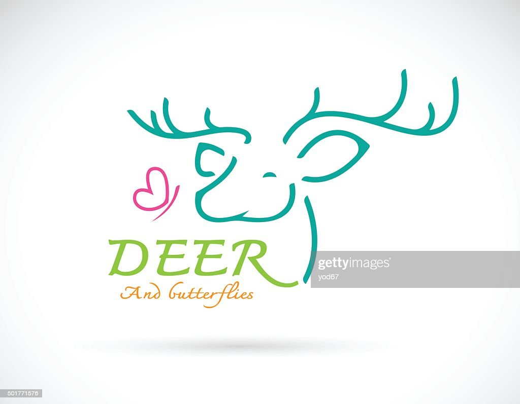 Vector image of deer and butterfly design and text