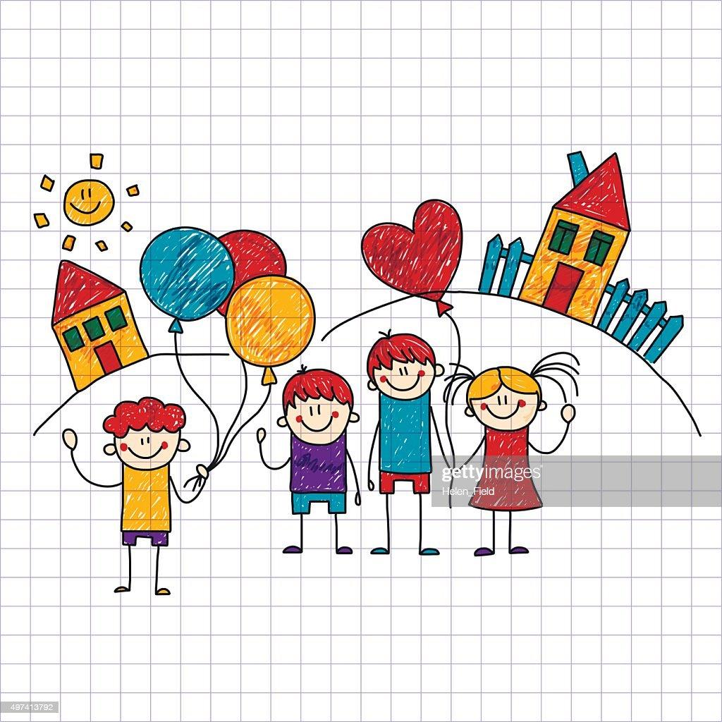 Vector image of happy children. Notebook paper.