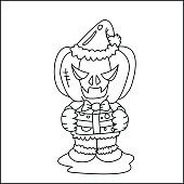 Vector image of Haunted pumpkin in Santa Cross dress with gift box in  Halloween concept. Coloring-page for kids.