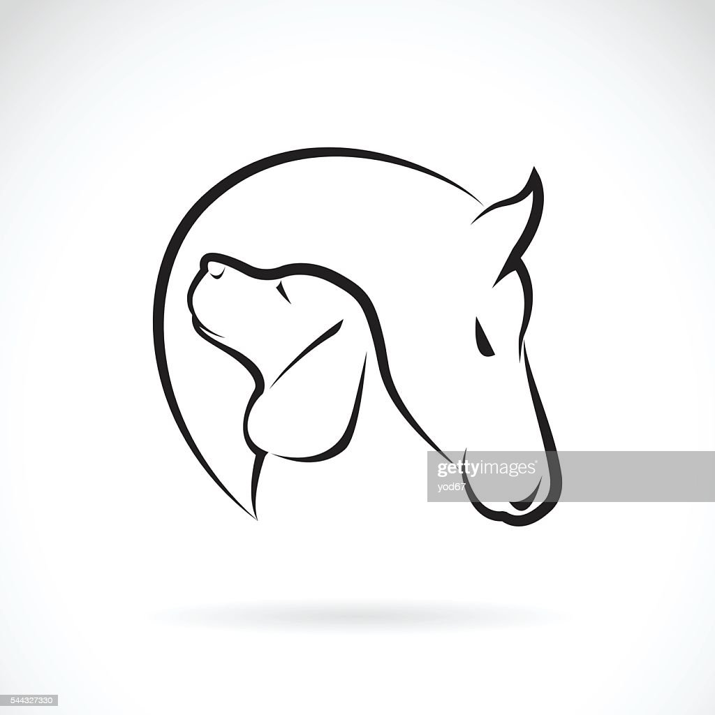 Vector image of horse and dog.