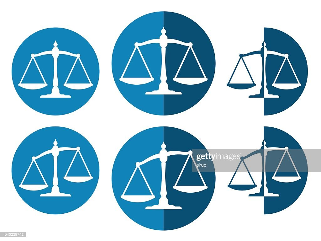 Vector image of justice balance icons