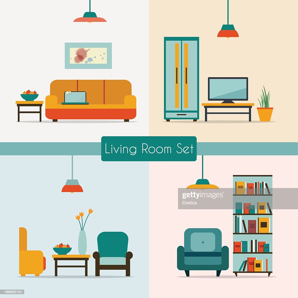 Vector image of living room furniture
