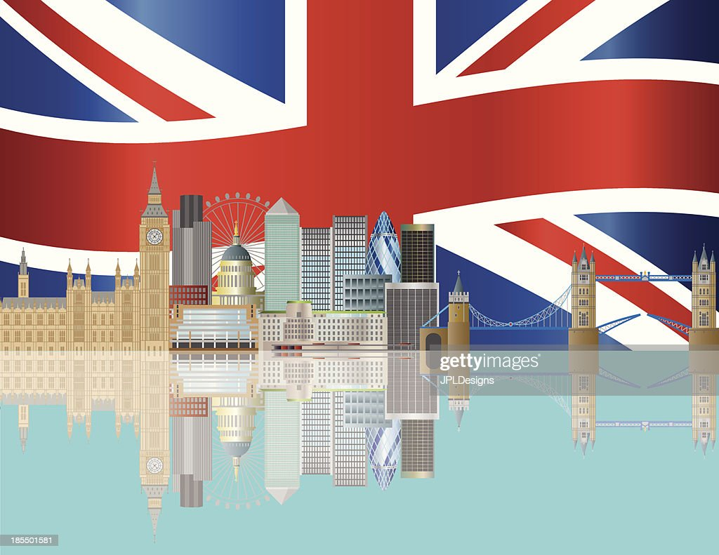 Vector image of London skyline and Union Jack flag