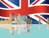 Vector image of London skyline and Union Jack flag