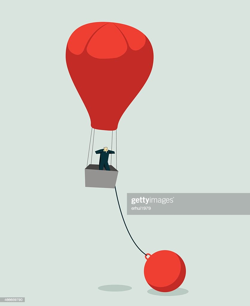 Vector image of man in red hot air balloon chained to ball