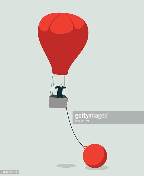 vector image of man in red hot air balloon chained to ball - hot air balloon stock illustrations, clip art, cartoons, & icons