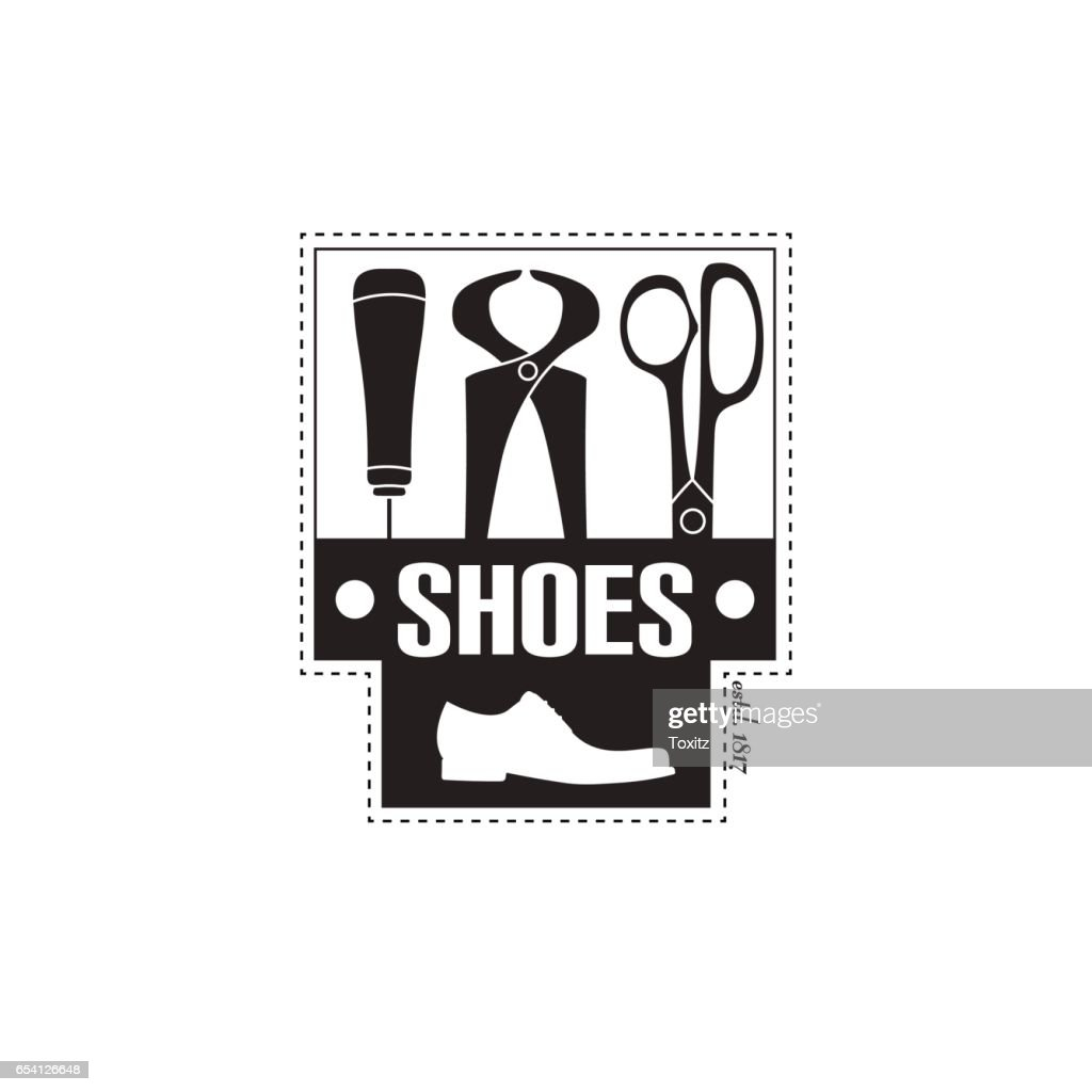 vector image  of shoe repair services. Concept for workshop repair