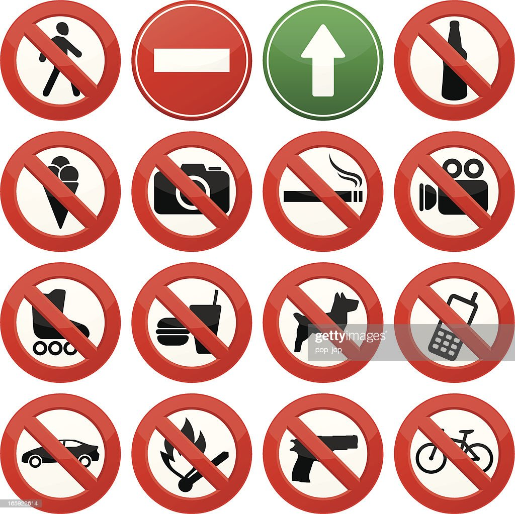 Vector image of signs with prohibited activities