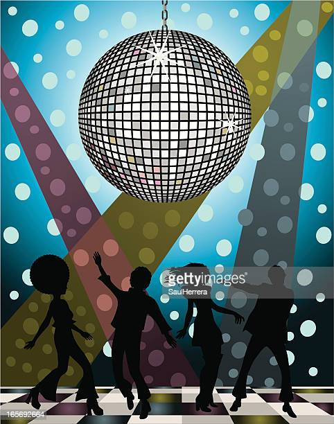A vector image of silhouetted people at a disco