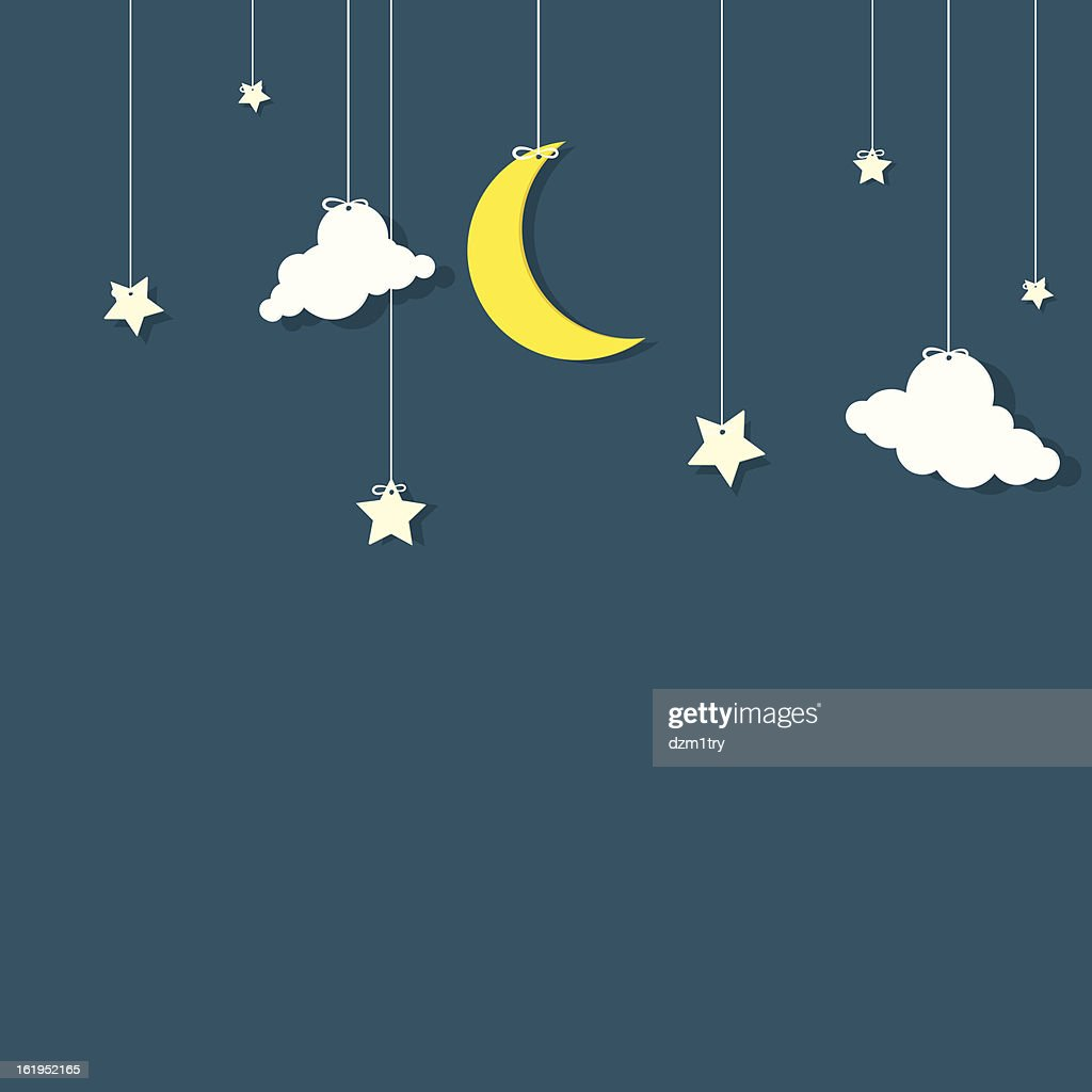 A vector image of stars, clouds, and a crescent moon