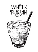 Vector image of summer cocktail White Russian. Alcoholic cocktail.