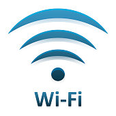 Vector image of symboltype Wi Fi connection with mirror reflection on white background.