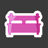 Vector image of the bed. Flat Bed Icon. Vector  icon colored sticker. Layers grouped for easy editing illustration.  For your design.