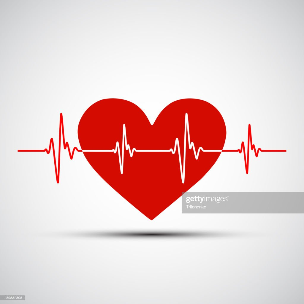 Vector image of the human heart and the encephalogram