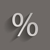 Vector image of the percent sign. Vector illustration with shadow design