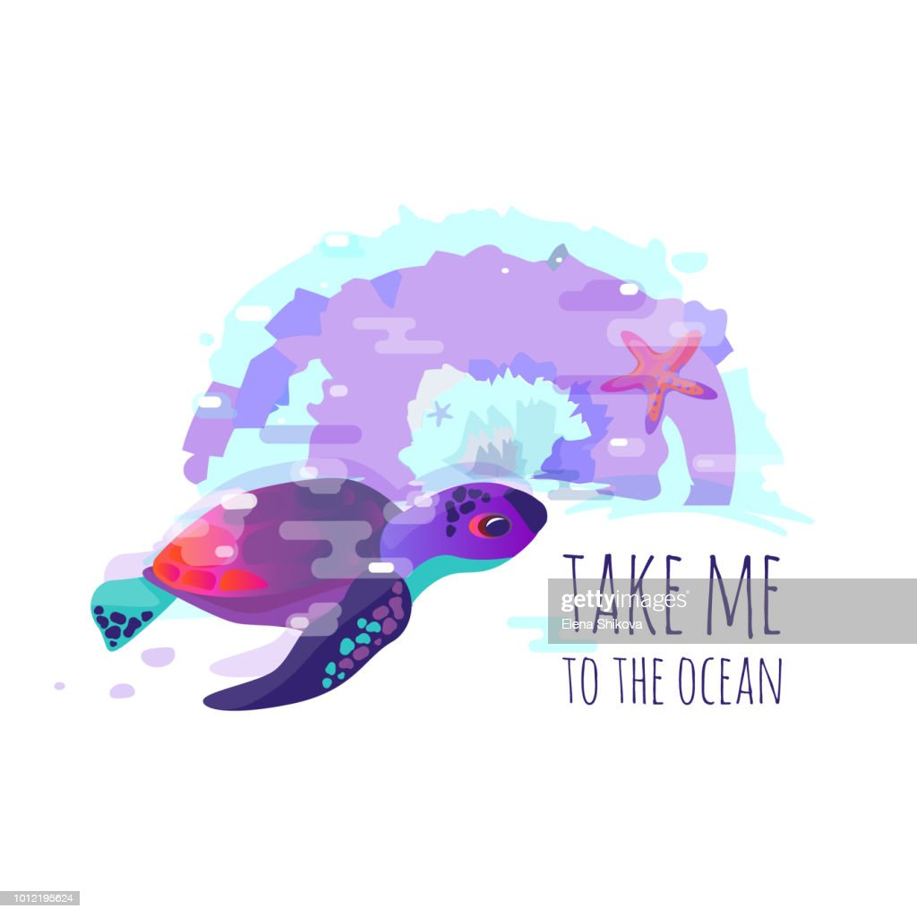 """Vector image of turtle, or sea fauna. Lettering phrase """"take me to the ocean"""""""