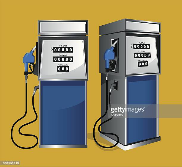vector image of two blue fuel pumps on a yellow background - fuel pump stock illustrations, clip art, cartoons, & icons