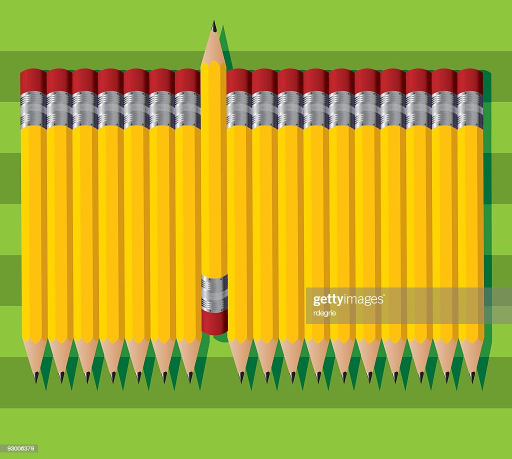 Vector image of yellow pencils on a striped green background