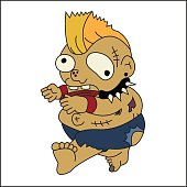 Vector image of zombie in cartoon style on white background. Halloween concept.