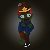 Vector image of zombie in cartoon style with dark background. Halloween concept.