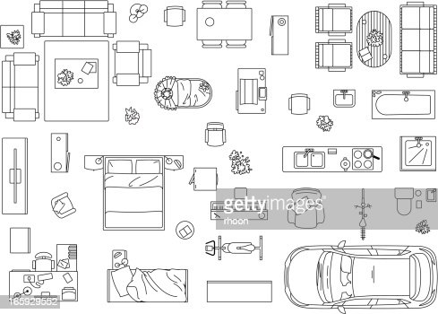 Vector Image Set Of Furniture Appliances And Car Stock