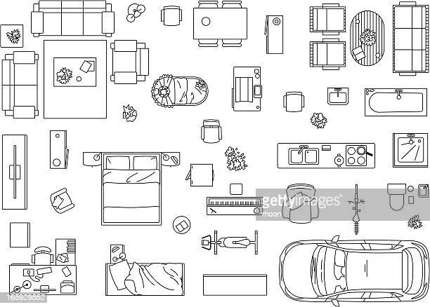 vector image set of furniture, appliances and car - furniture stock illustrations, clip art, cartoons, & icons