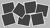 Vector image set of square frames for photos. Icons of empty realistic photo frames