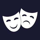 Vector Image Theatrical face mask. Drama and comedy.