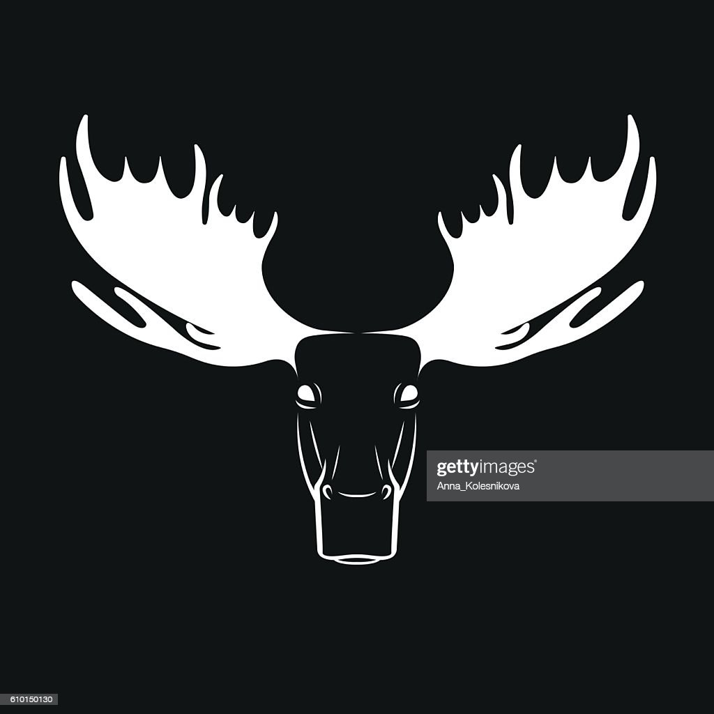 Vector images of moose deer head on a black background