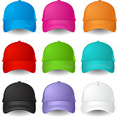Vector images of multicolored baseball caps