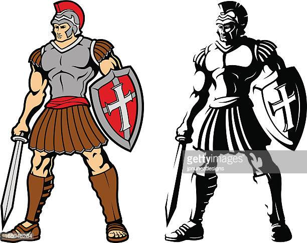 vector images of two trojan warriors - gladiator stock illustrations
