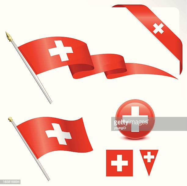 vector images of various swiss flag designs - swiss culture stock illustrations