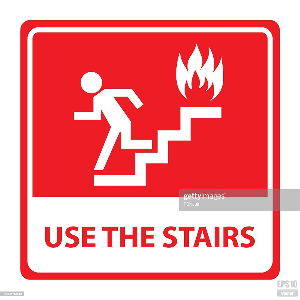Vector : In case of fire use the stairs sign.Eps10