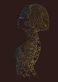 Vector in profile glamorous woman with long eyelashes and a haircut bob . Pensive girl with a tattoo rose and thorns on a beautiful female body. Golden colored pattern on brown back page A4 size.