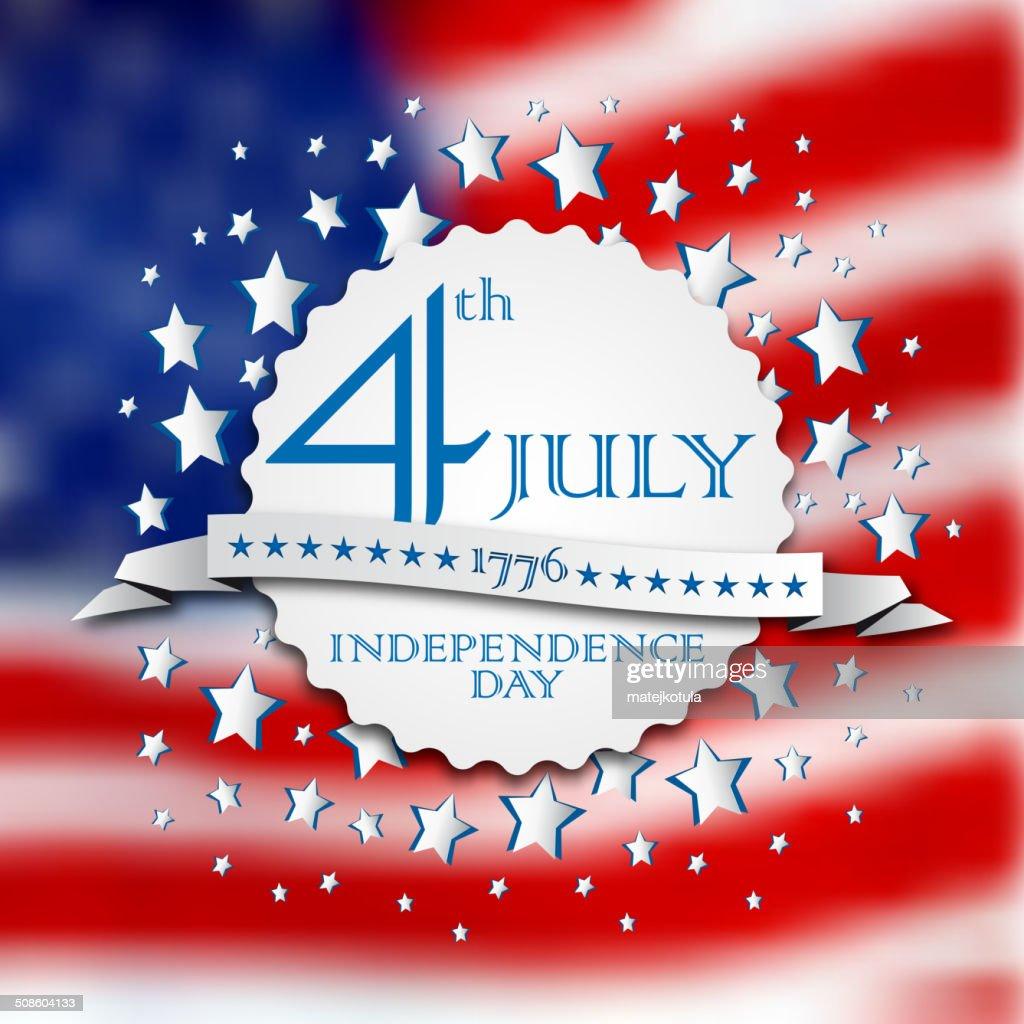 Dia da Independência de vetor vintage fundo do poster retro emblema, : Arte vetorial