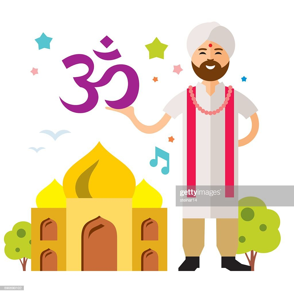 Vector India Country. Flat style colorful Cartoon illustration.